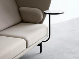 Plenum high-back sofa system - detail close-up, side sofa table