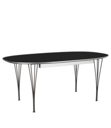 Table Series - Super-Elliptical w. extension, Black, Powder coated (rendering)