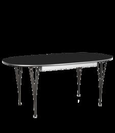 Table Series - Super-Elliptical w. extension, Black, Powder coated (rendering)